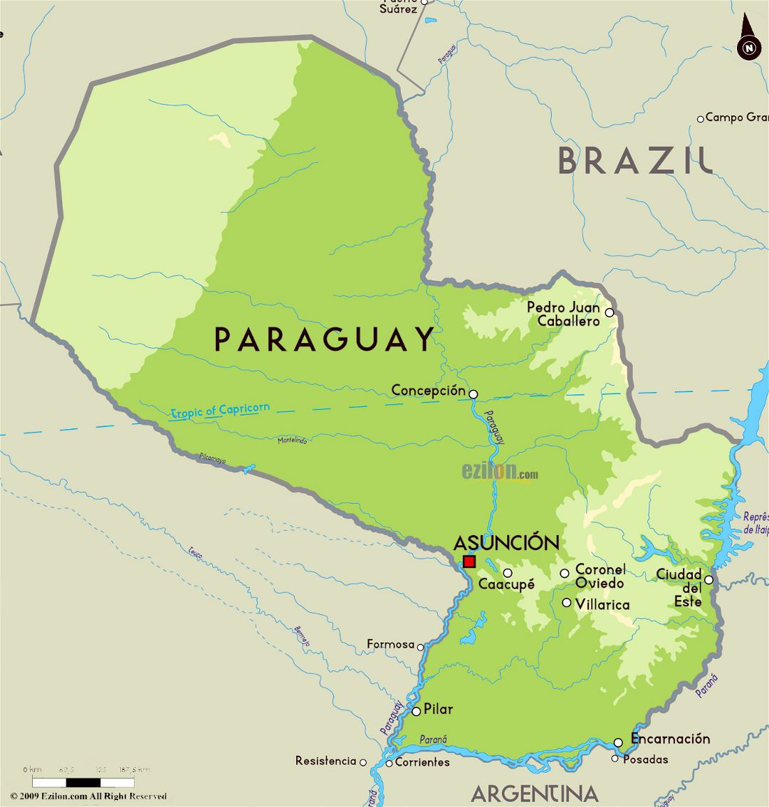 Large physical map of Paraguay with major cities