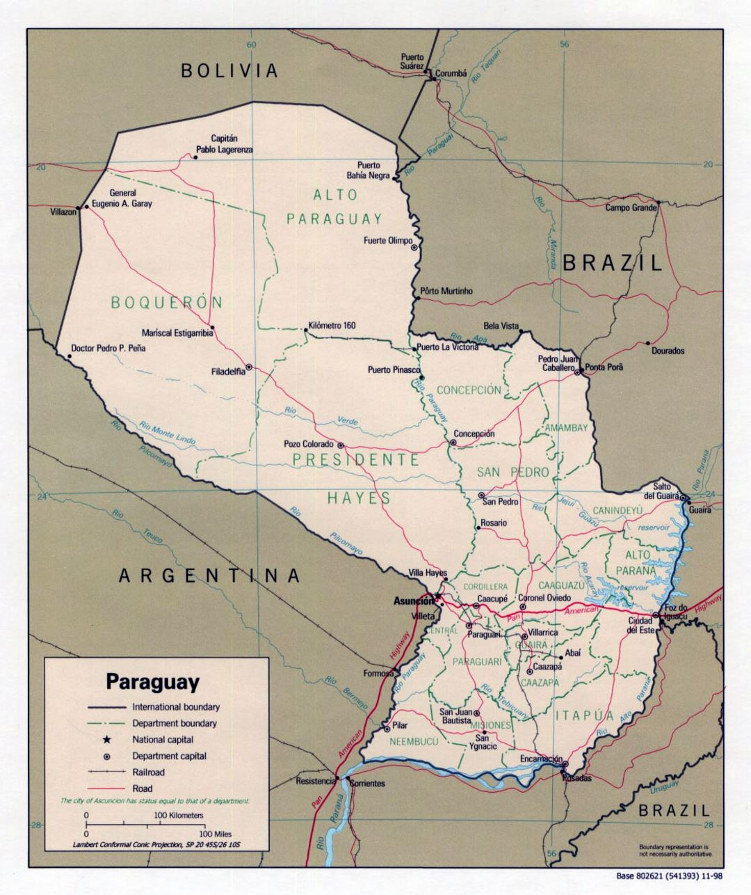Large political and administrative map of Paraguay with roads and cities - 1998