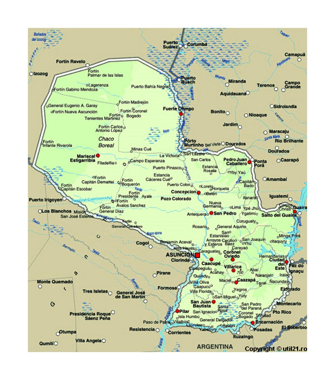 Map of Paraguay with cities | Paraguay | South America | Mapsland ...