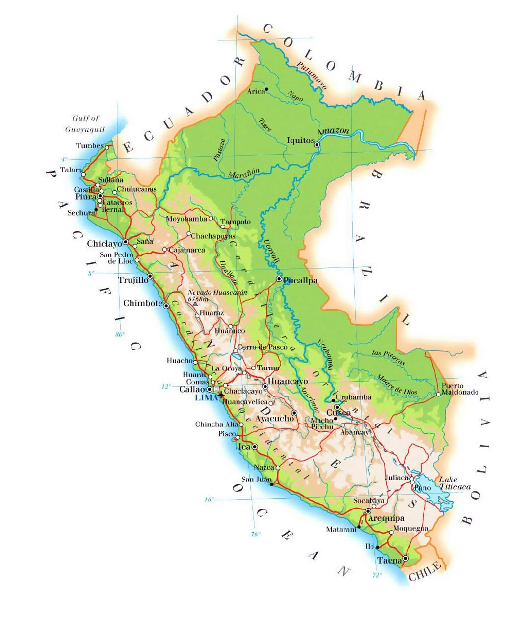 Airports In Peru Map.Detailed Elevation Map Of Peru With Roads Cities And Airports