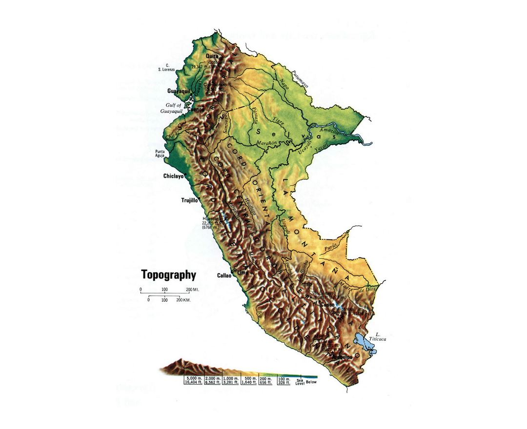 Maps Of Peru Detailed Map Of Peru In English Tourist Map - South america relief map peru