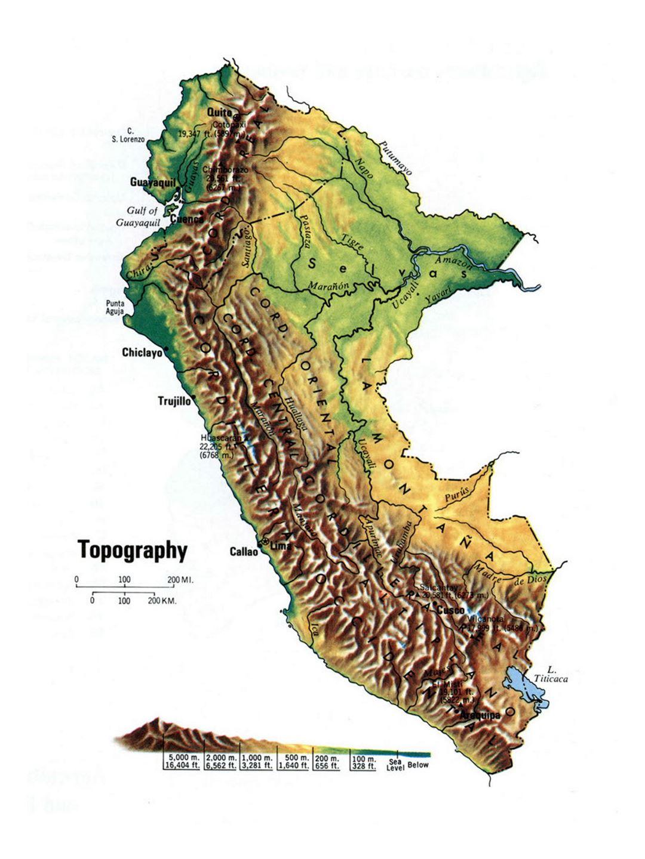 Detailed Topographical Map Of Peru Peru South America - Map of peru