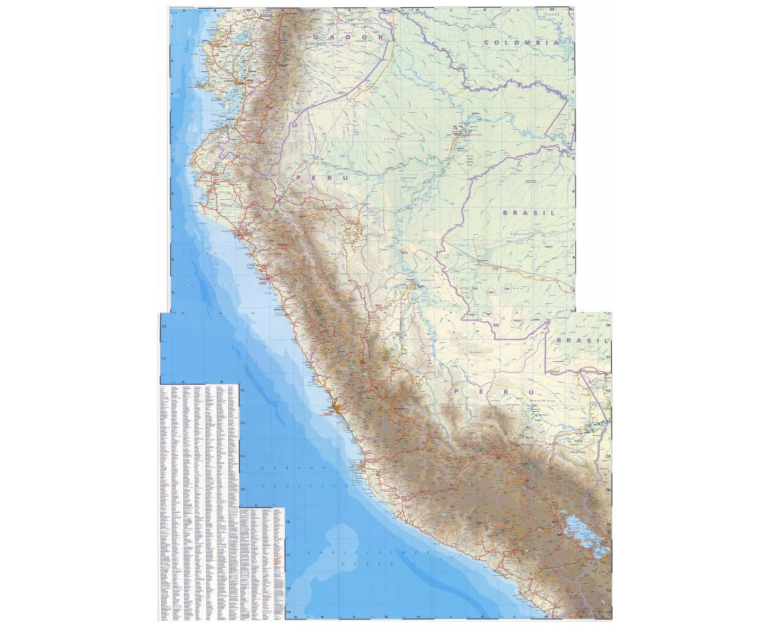 In high resolution detailed road map of Peru with all cities and other marks