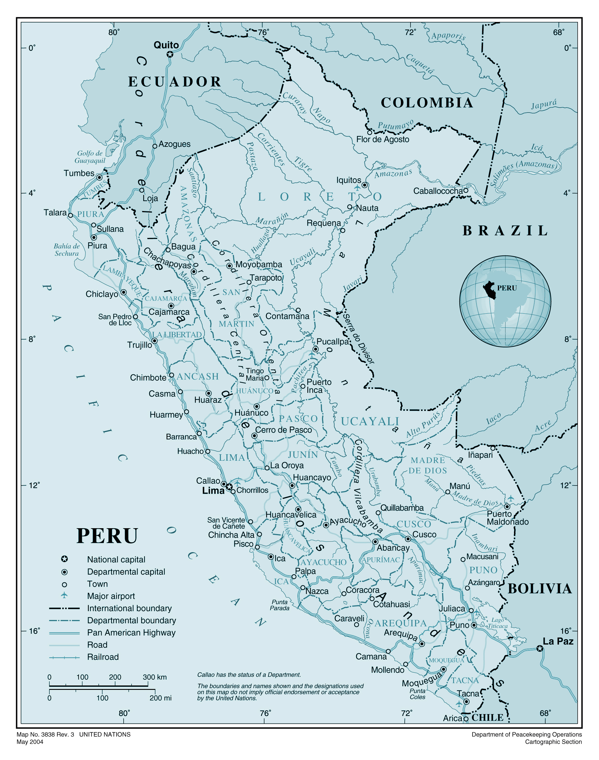 Peru Map Cities.Large Detailed Political And Administrative Map Of Peru With Roads