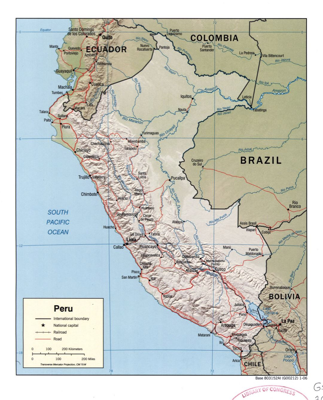 Large detailed political map of Peru with relief, marks of roads, railroads and major cities - 2006