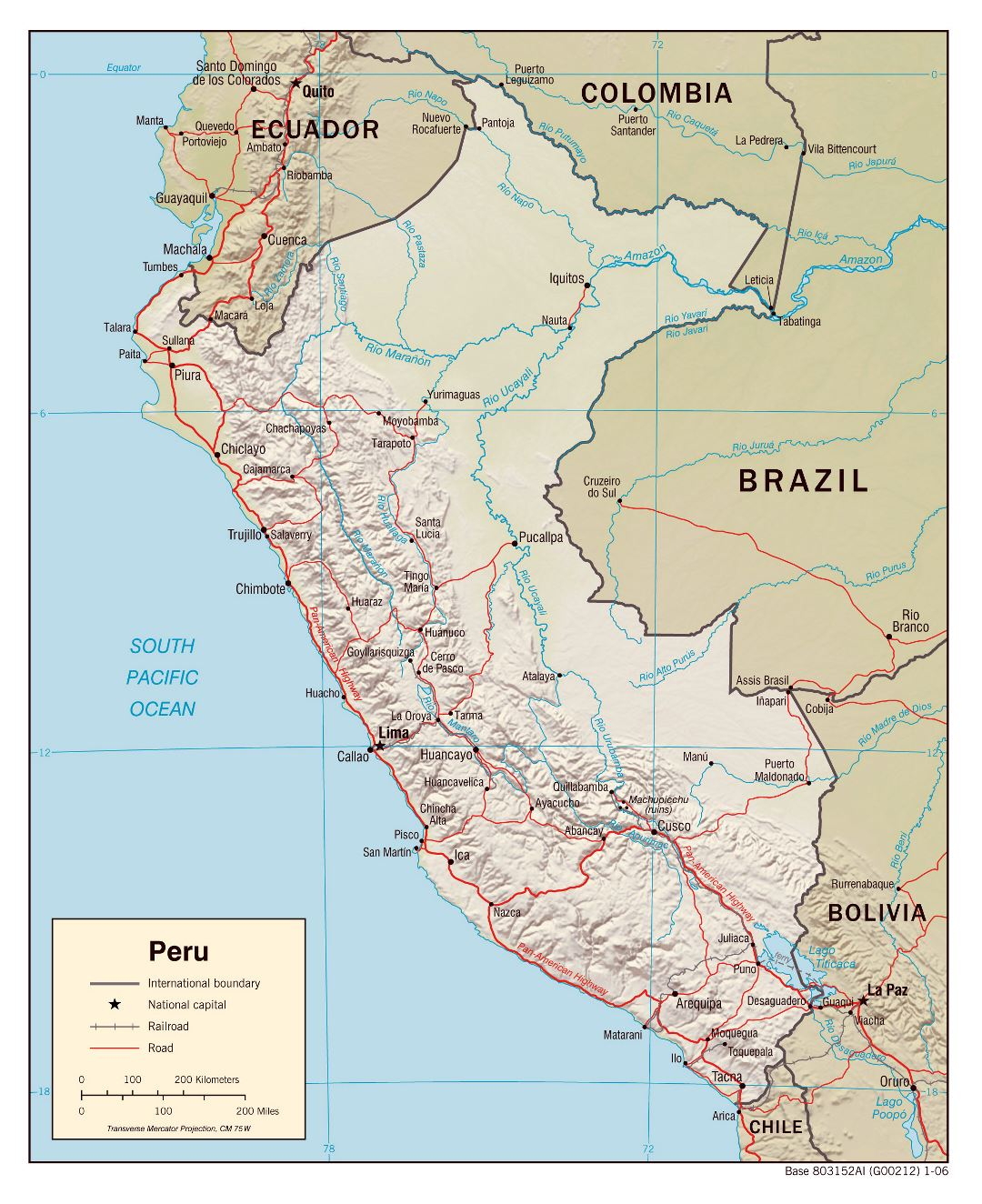 Large detailed political map of Peru with relief, roads and cities - 2006