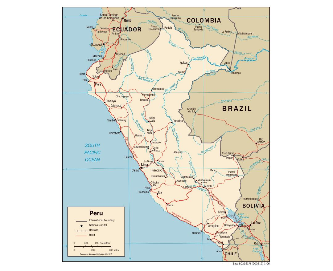 Maps Of Peru Detailed Map Of Peru In English Tourist Map - Road map of colombia 2006