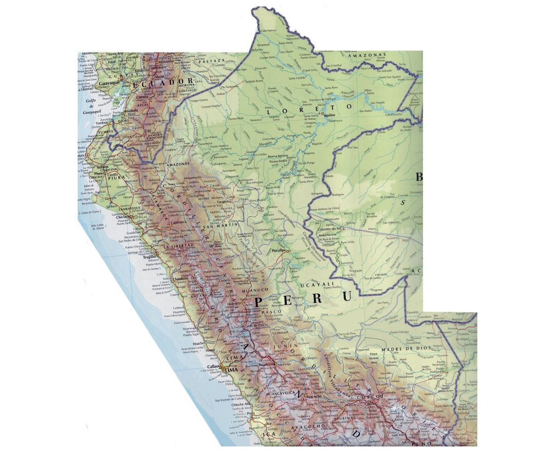 Large map of Peru with roads and cities