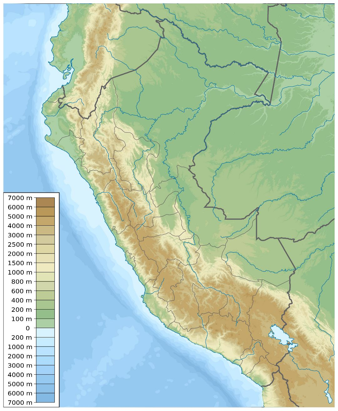 Large physical map of Peru
