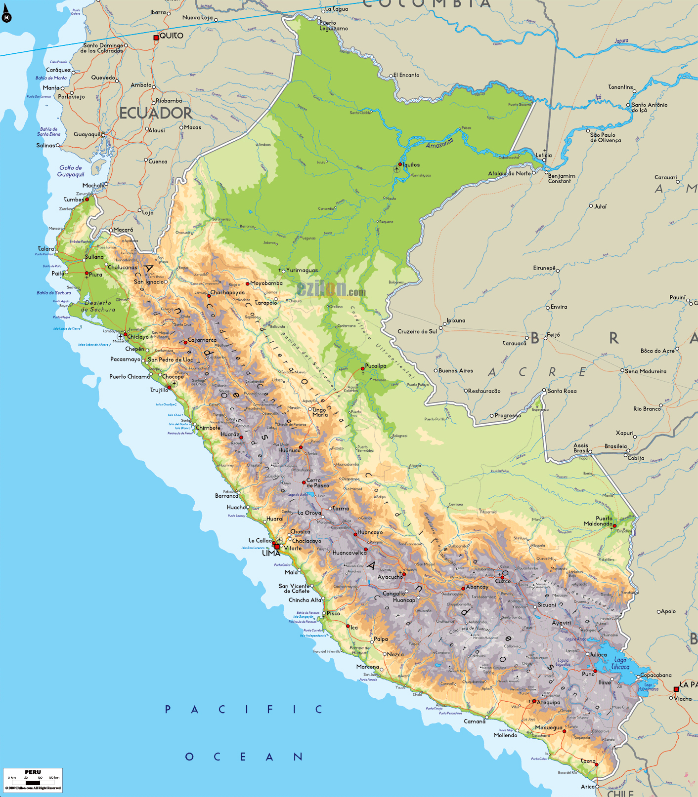 Airports In Peru Map.Large Physical Map Of Peru With Roads Cities And Airports Peru