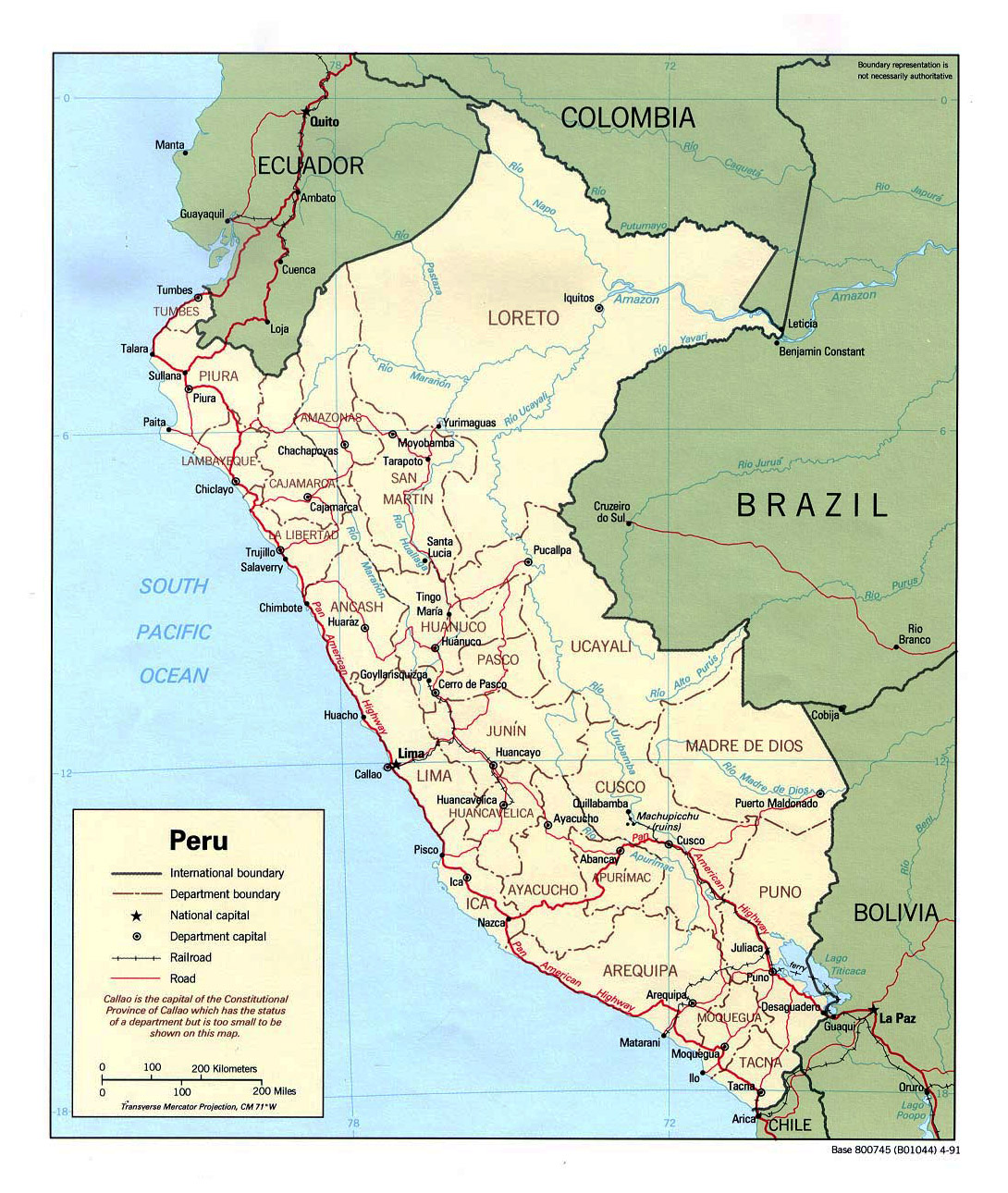 Large Political And Administrative Map Of Peru With Roads And Major Cities 1991