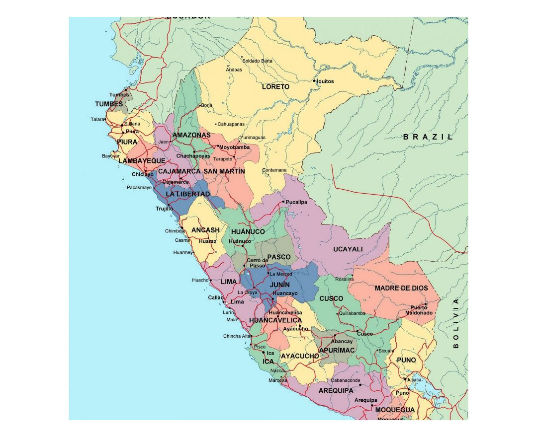 Maps of peru detailed map of peru in english tourist map large political and administrative map of peru with roads and major cities sciox Choice Image