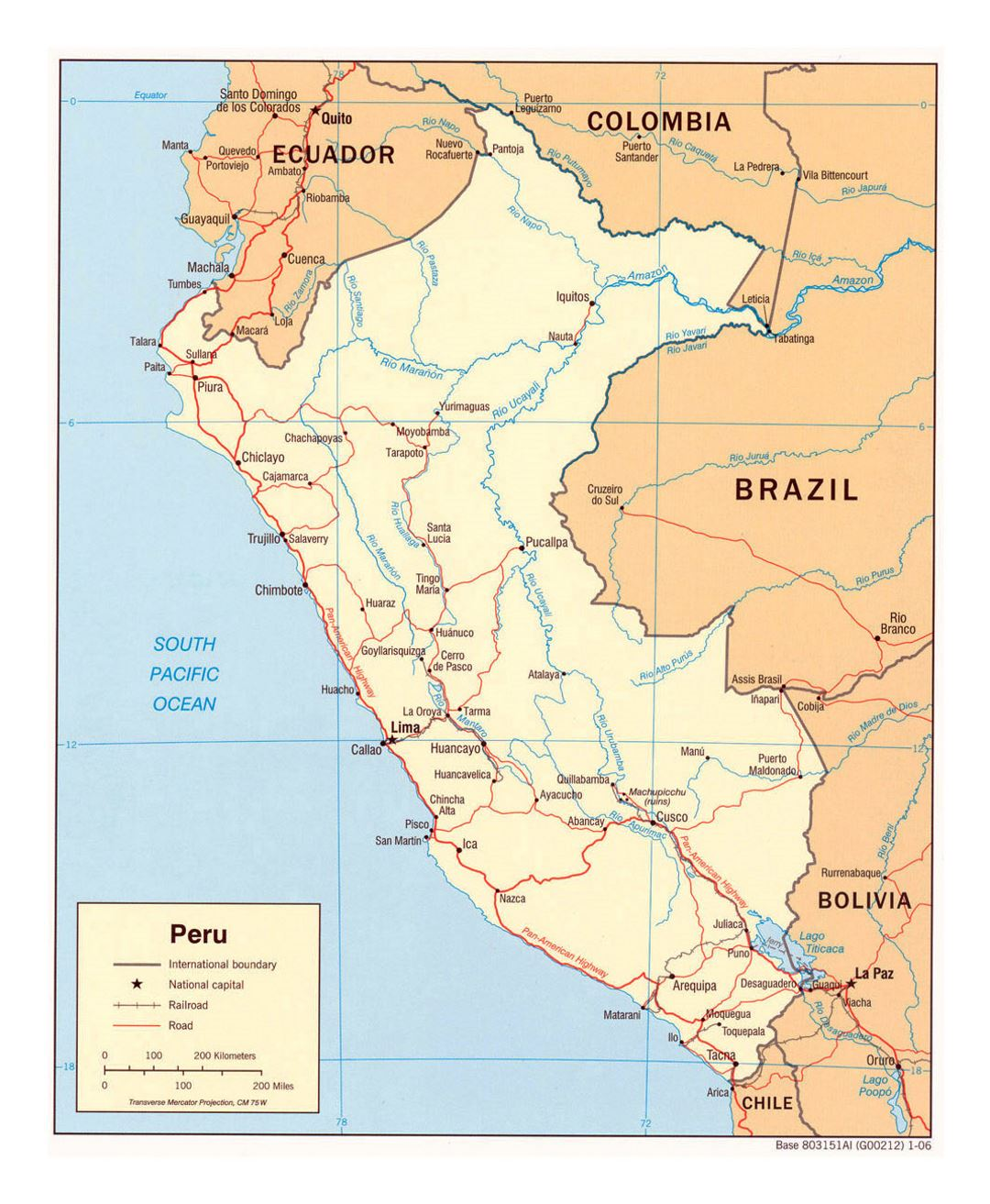 Large Political Map Of Peru With Roads And Major Cities - Peru major cities map