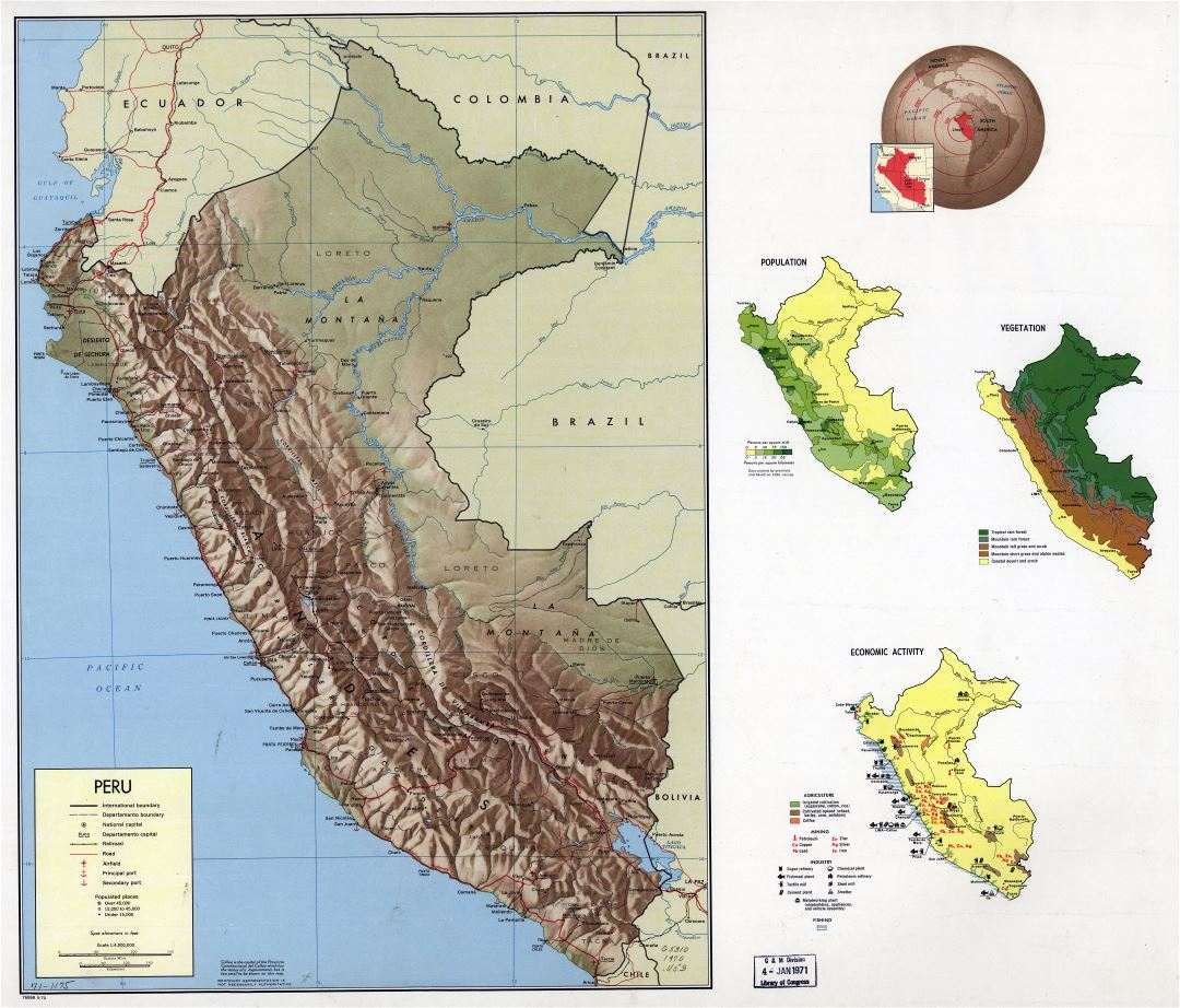 Large scale country profile map of Peru - 1970