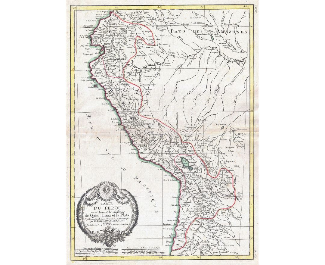 Large scale old map of Peru - 1775