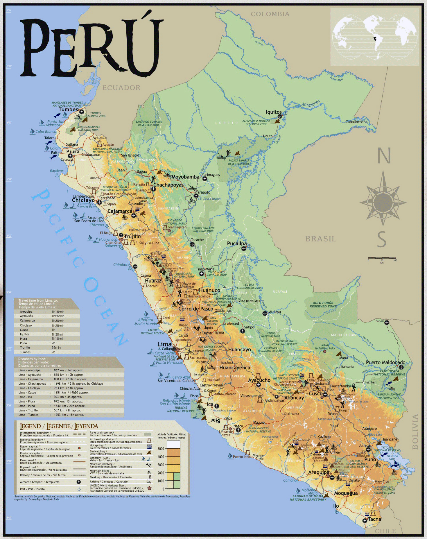 Large tourist map of Peru Peru South America Mapsland – Tourist Map Of Peru