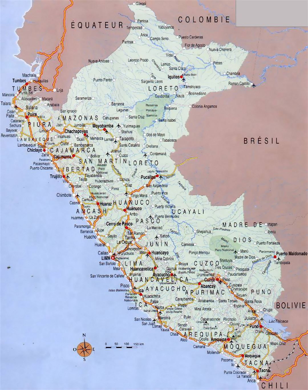 Road Map Of Peru With Cities Peru South America Mapsland - Cities map of peru