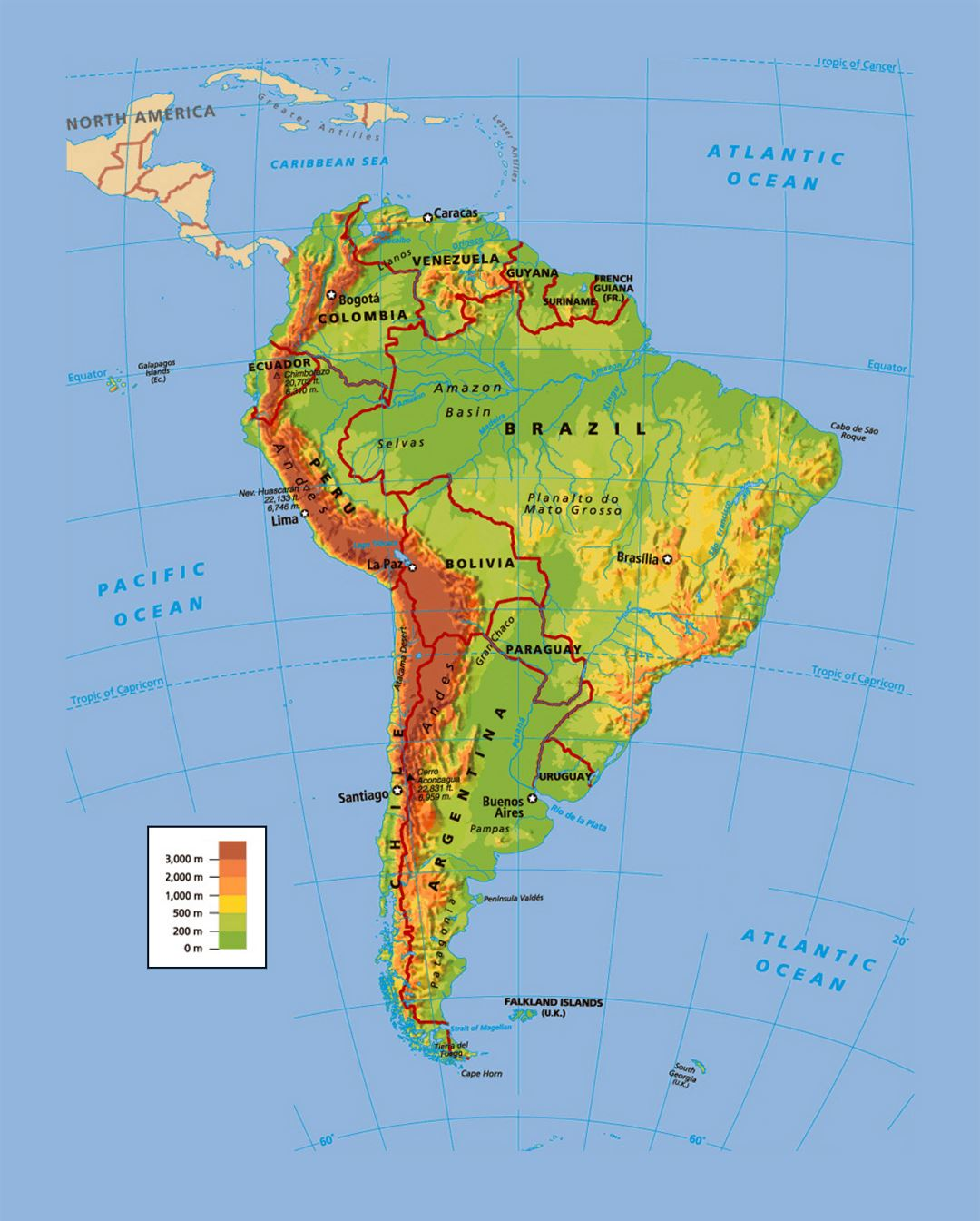 Political and physical map of South America | South America ... on peopling of the americas, mercator projection of the americas, geological map of the americas, language map of the americas, physical map southern africa, physical features of america, physical map china, world map of the americas, outline map of the americas, physical map sub-saharan africa, historical map of the americas, topographic map of the americas,