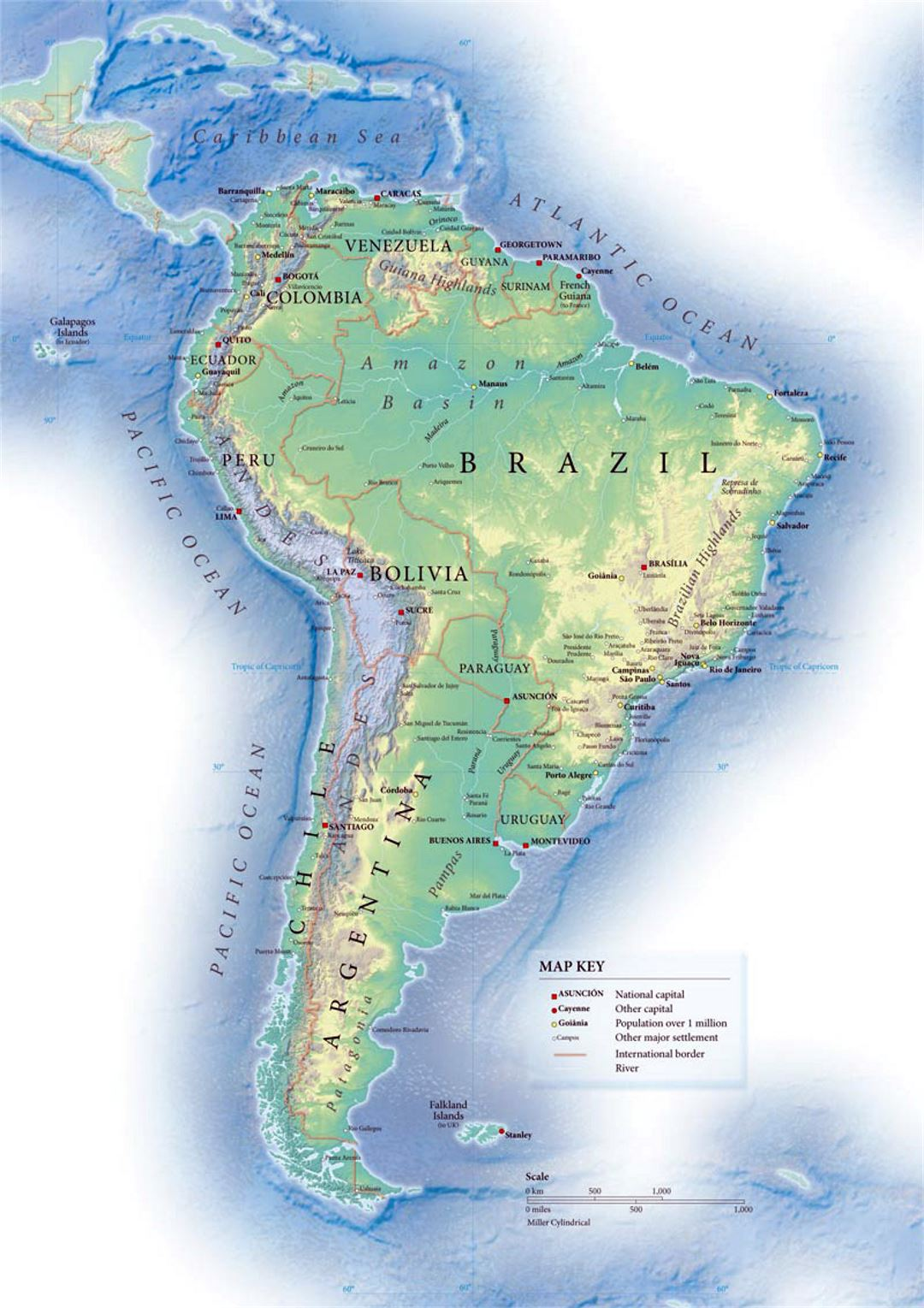 Political map of South America with relief