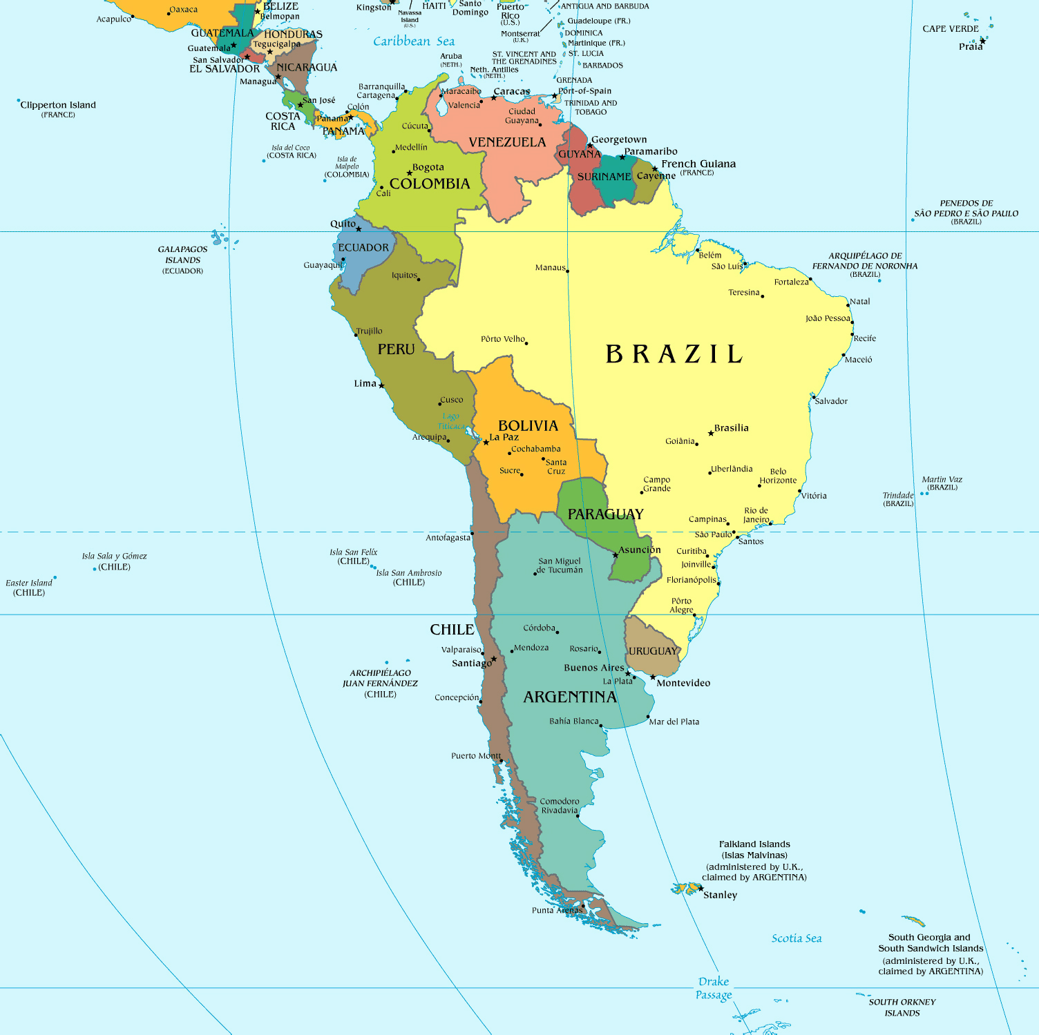 South America Political Map South America Mapsland Maps Of - South america map brazil