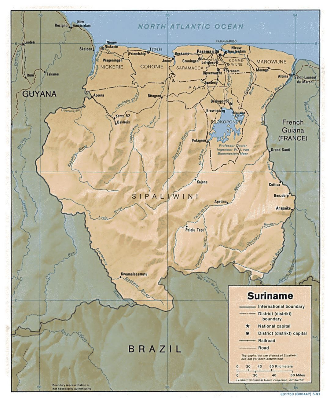 Detailed political and administrative map of Suriname with relief