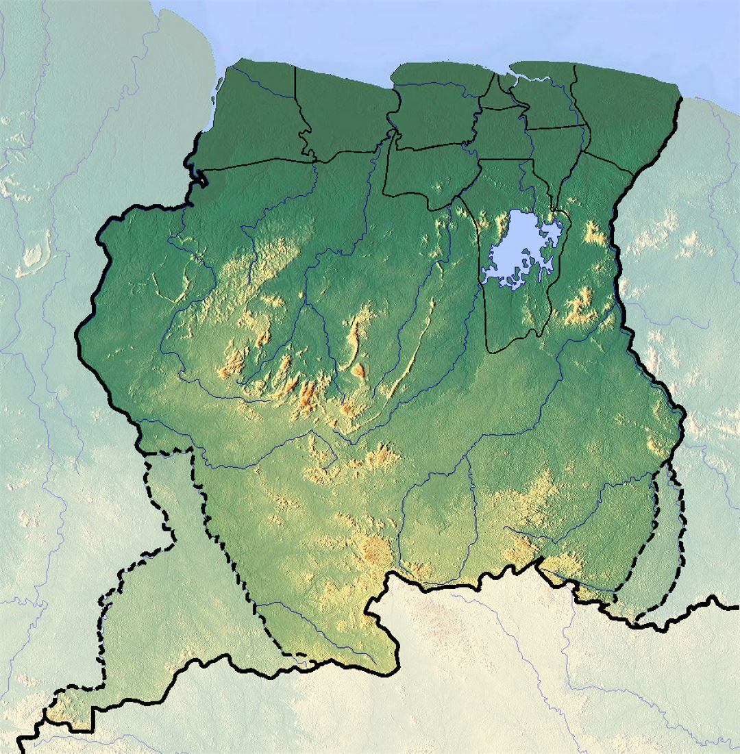 Detailed relief map of Suriname