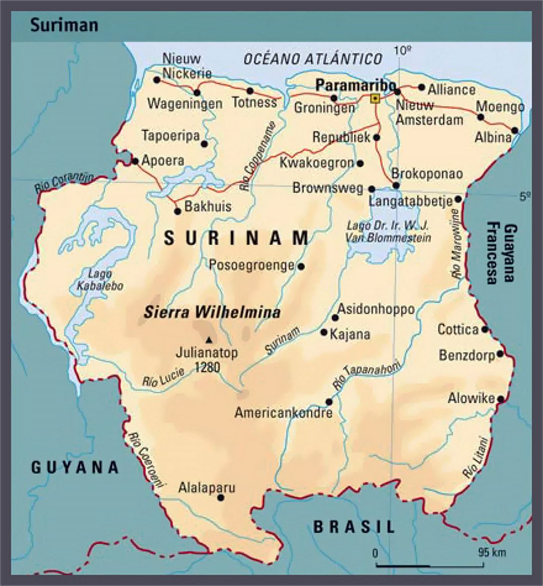 Elevation Map Of Suriname Suriname South America Mapsland - Where is suriname on the map
