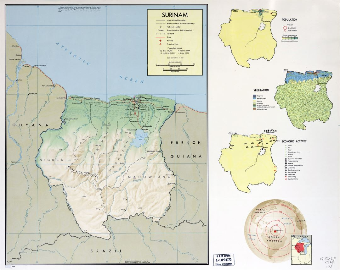 Large detailed country profile map of Suriname - 1968
