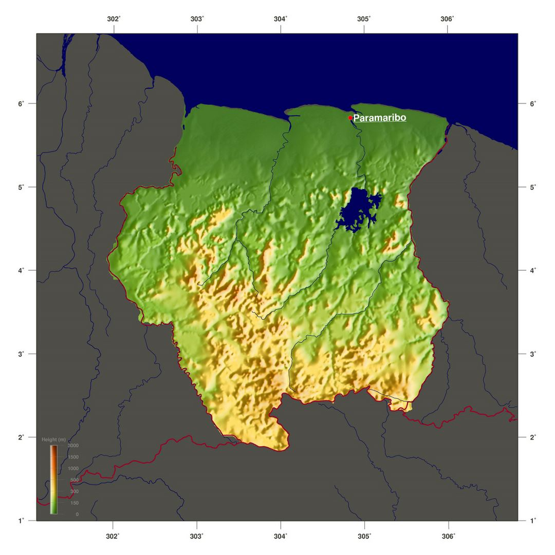 Large elevation map of Suriname