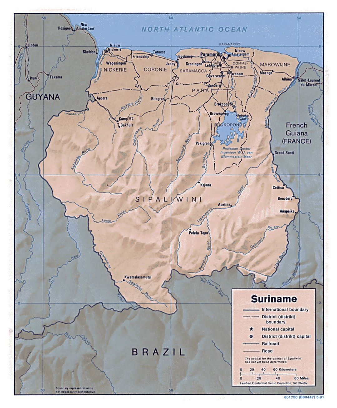 Large political and administrative map of Suriname with relief, roads and major cities - 1991