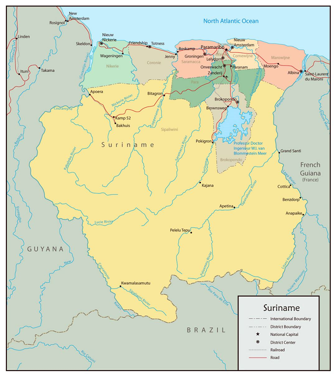 Large political and administrative map of Suriname with roads and