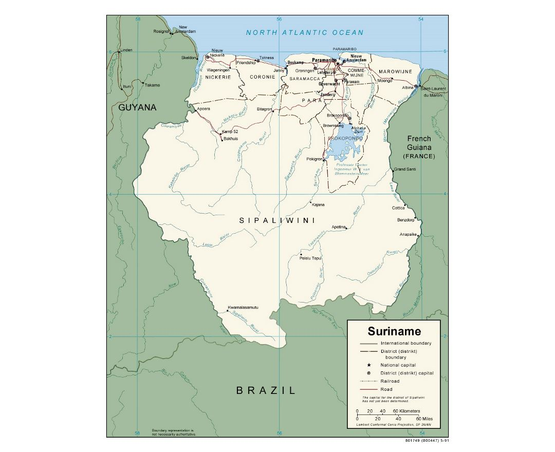 Maps Of Suriname Detailed Map Of Suriname In English Tourist - Usa map with capitals and major cities