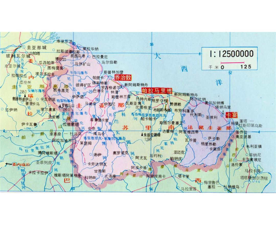 Maps of Suriname Detailed map of Suriname in English Tourist map