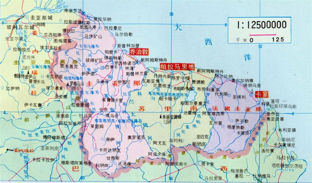 Large political map of Guyana, Suriname and French Guiana in chinese