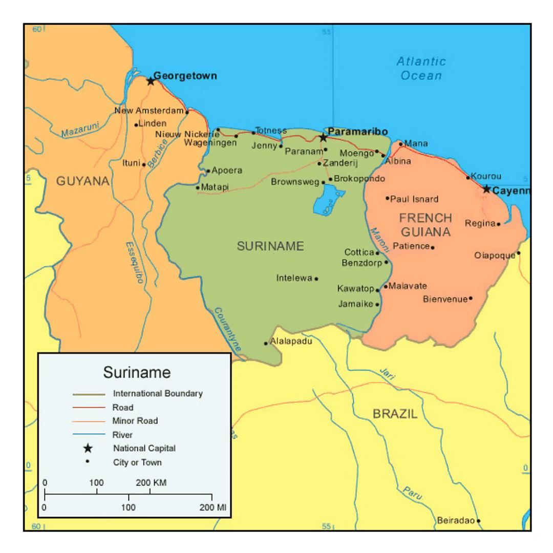Political map of Suriname with cities and roads