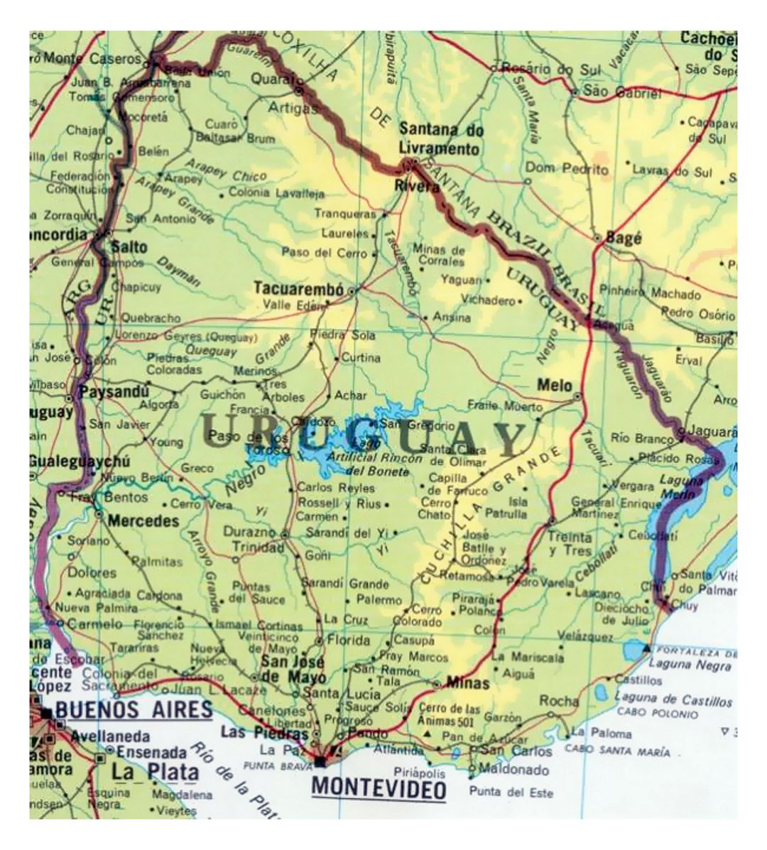 Detailed map of Uruguay with roads and cities