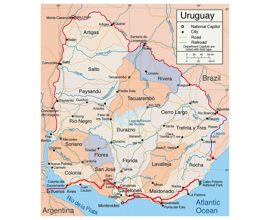 Detailed political and administreative map of Uruguay with roads and major cities