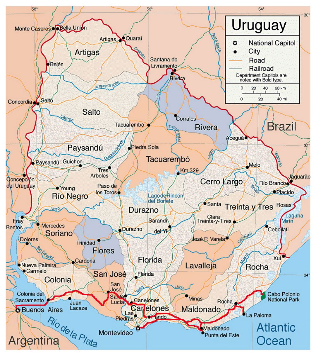 Detailed Political And Administreative Map Of Uruguay With Roads - Map of uruguay