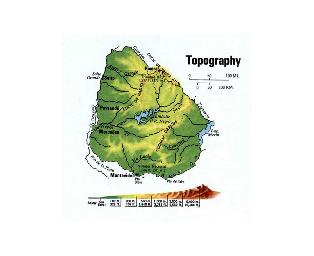Detailed topography map of Uruguay