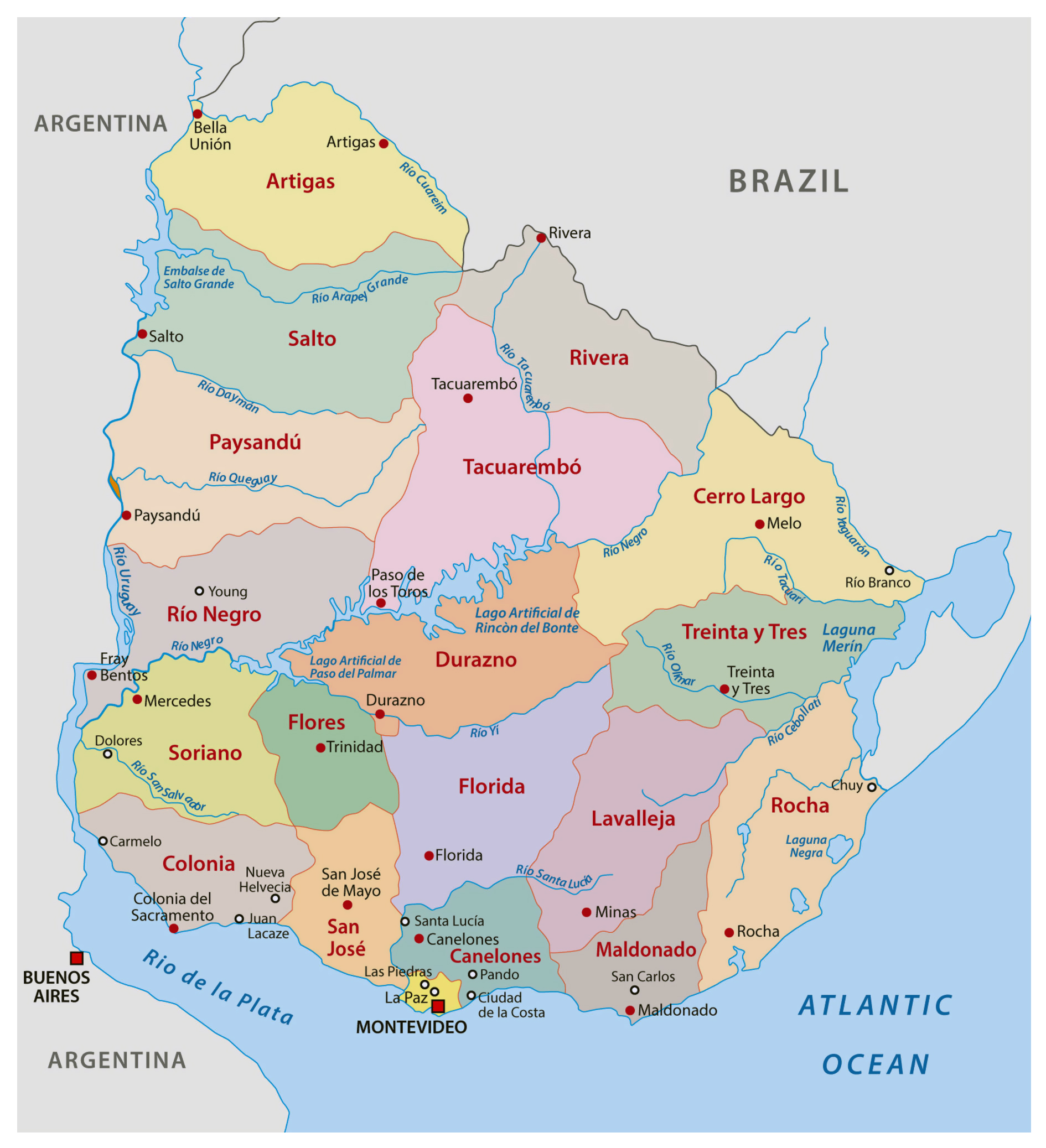 large detailed administrative divisions map of uruguay  uruguay  - large detailed administrative divisions map of uruguay