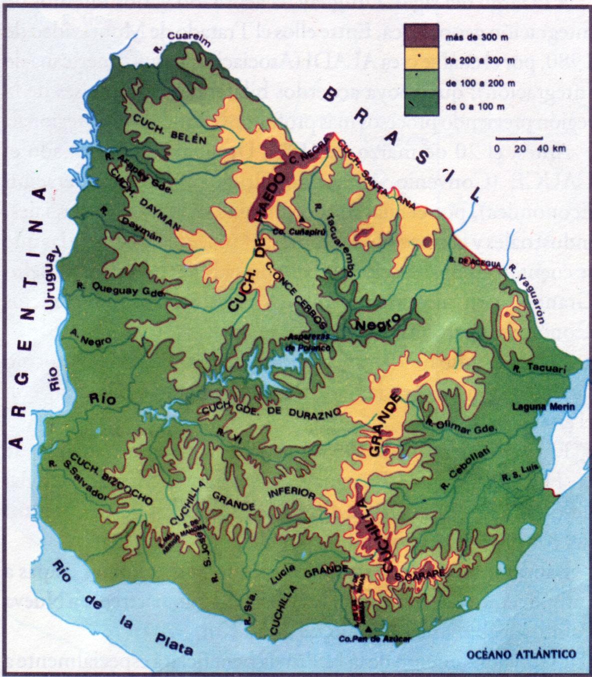 Large detailed elevation map of Uruguay | Uruguay | South America ...
