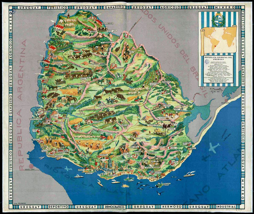 Large detailed old illustrated map of Uruguay