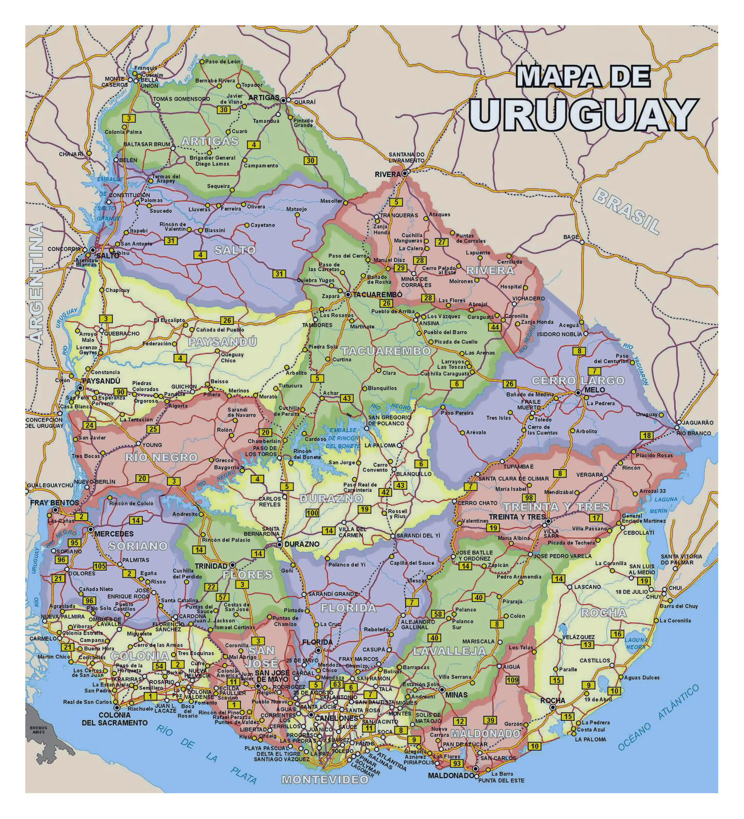Large Detailed Political And Administrative Divisions Map Of Uruguay With All Roads And Cities