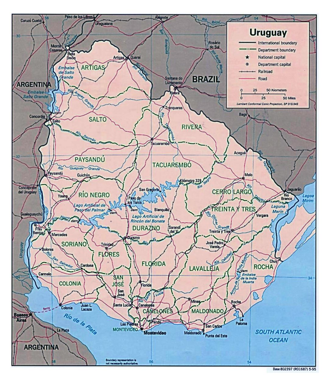 Large detailed political and administrative map of Uruguay with roads and cities - 1995
