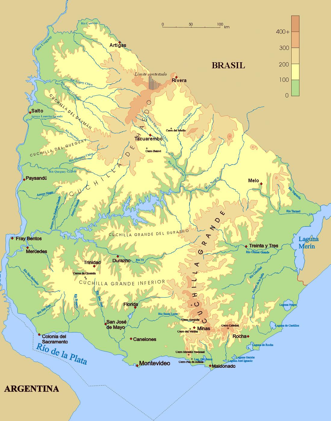 Large Elevation Map Of Uruguay Uruguay South America Mapsland