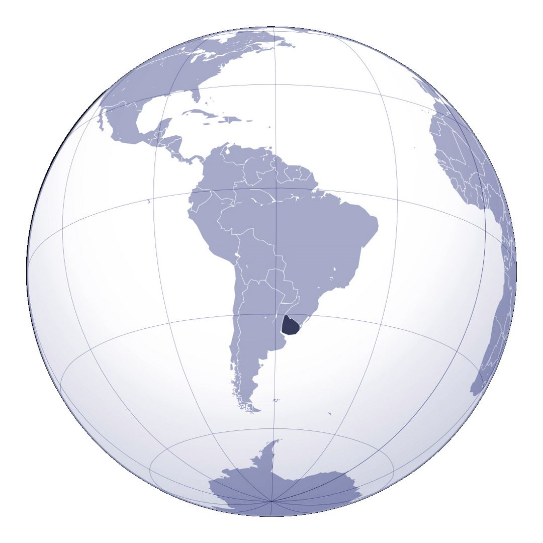 Large location map of Uruguay in South America