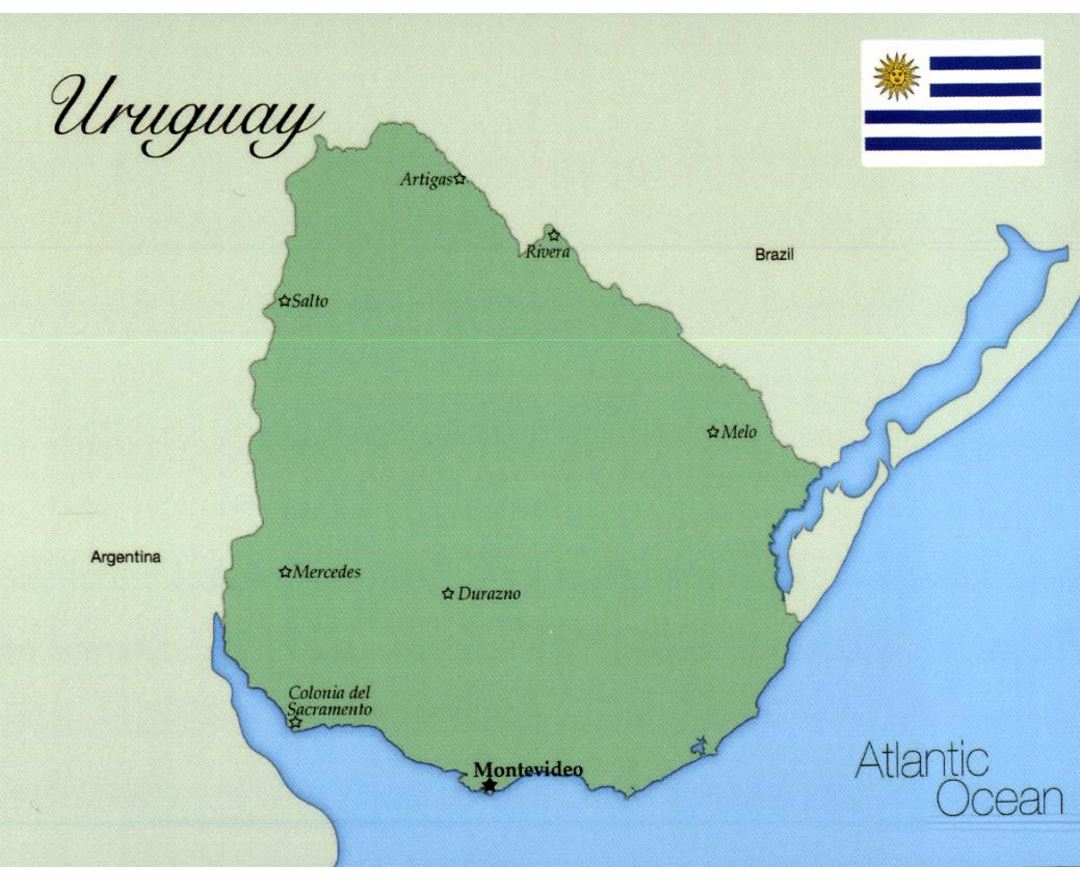 Large map of Uruguay with flag