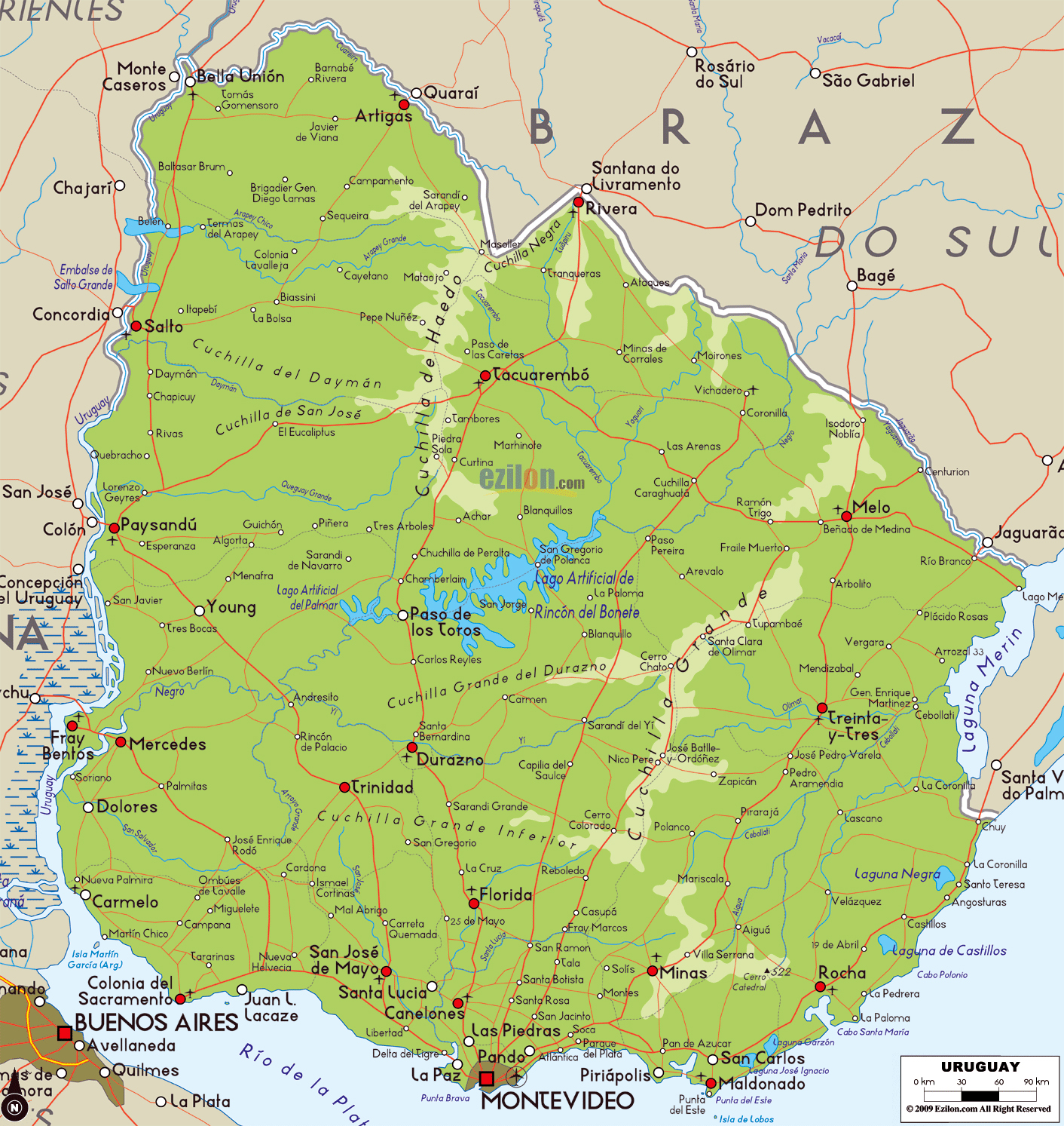 Large Physical Map Of Uruguay With Roads Cities And Airports - Uruguay physical map