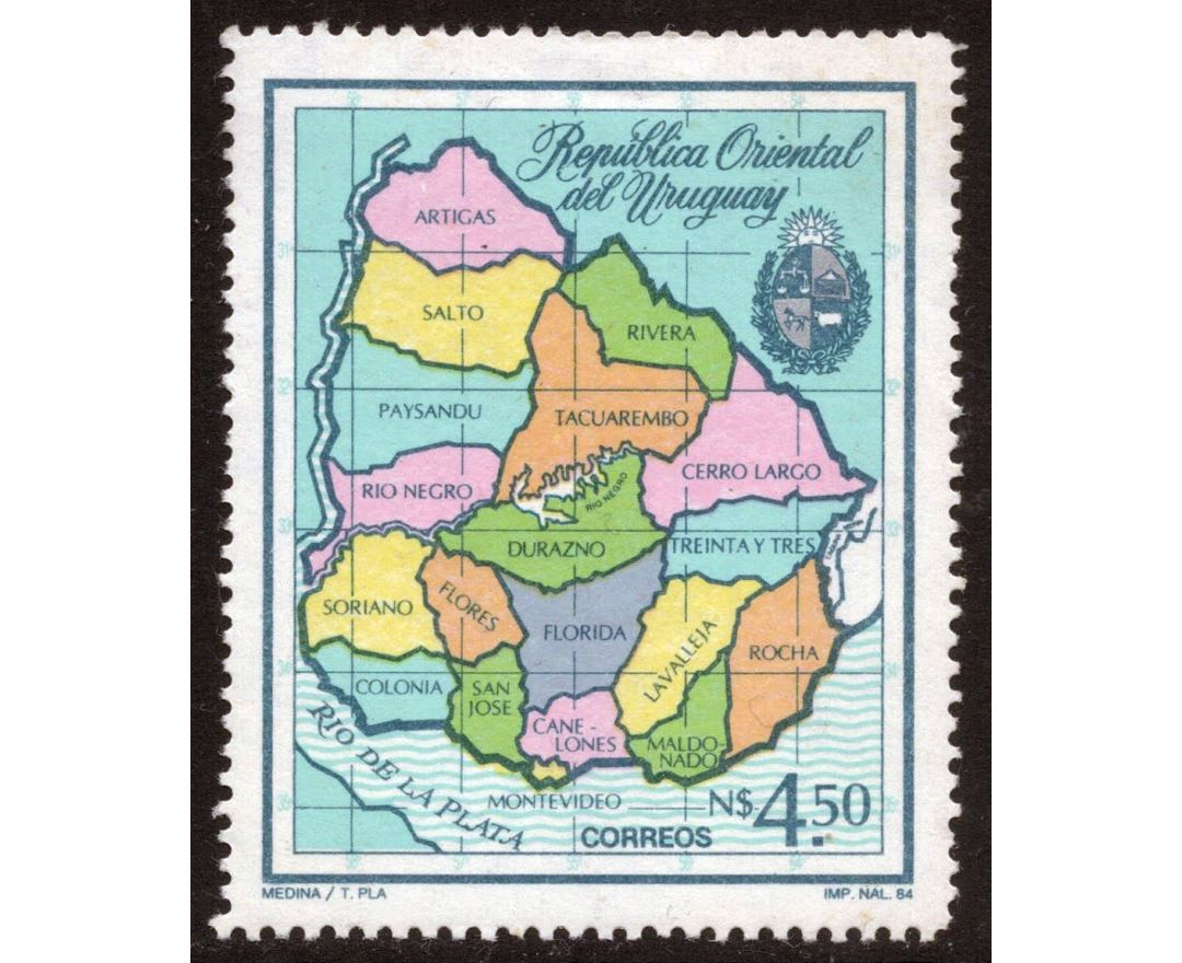 Large political and administrative map of Uruguay on post stamp