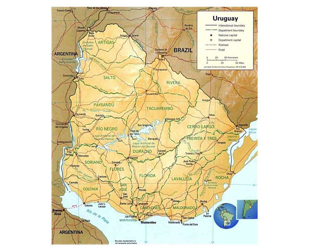 Large political and administrative map of Uruguay with relief